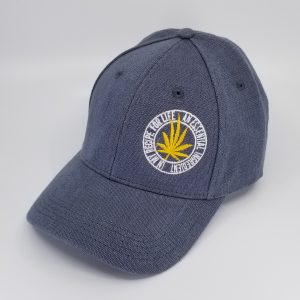 Hemp Fabric Baseball-Style Hat in Grey with Yellow Cannabis Leaf