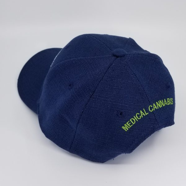 Hemp Fabric Baseball-Style Hat in Navy with words Medical Cannabis in Green on back of hat