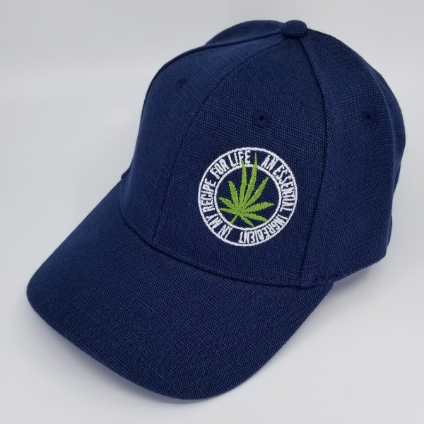 Hemp Fabric Baseball-Style Hat in Navy with Green Cannabis Leaf