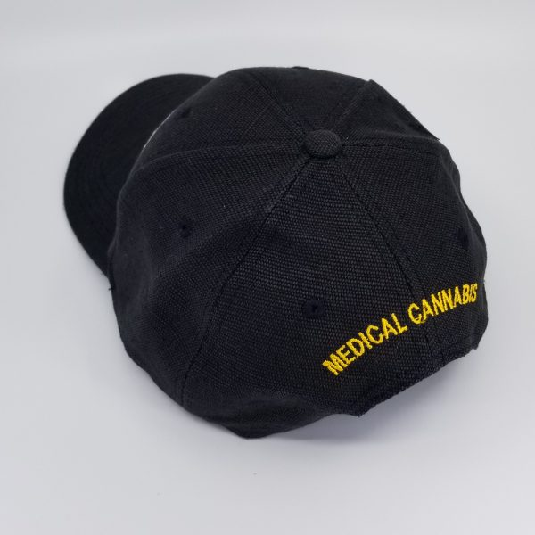 Hemp Fabric Baseball-Style Hat in Black with words Medical Cannabis in Yellow on back of hat