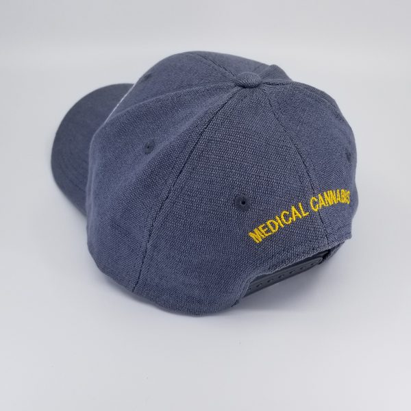 Hemp Fabric Baseball-Style Hat in Grey with words Medical Cannabis in Yellow on back of hat