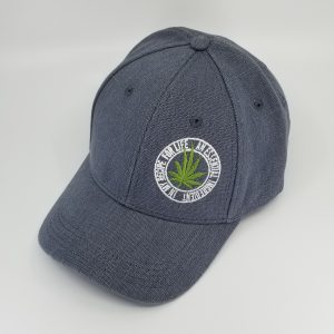 Hemp Baseball-Style Hat in Grey with Green Cannabis Leaf