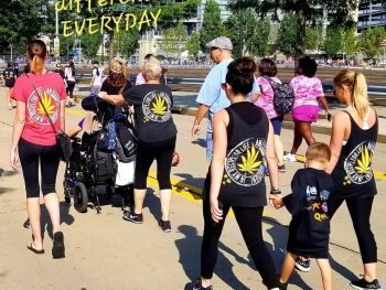 People wearing Empower Your Odyssey gear at a benefit race / walk.