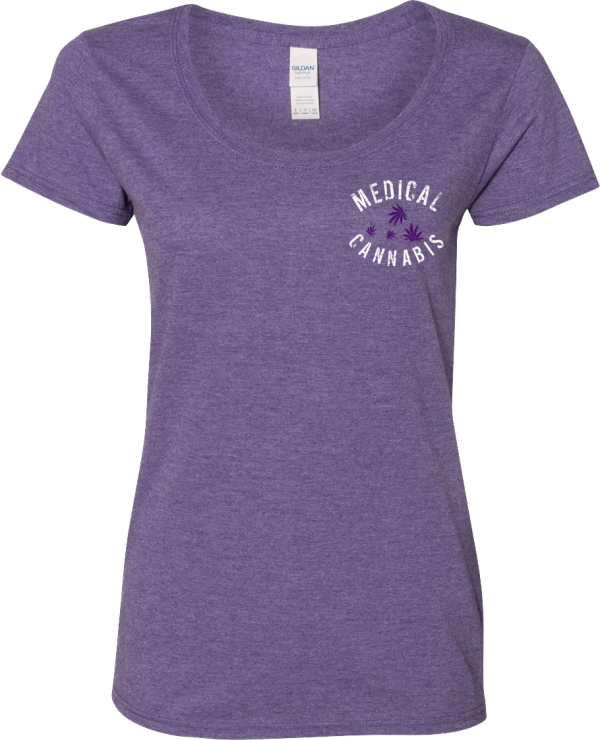 Epilepsy and Medical Cannabis Awareness Ladies Semi-Fitted Contoured T-Shirt in Purple with the Dark Purple Leaf Design