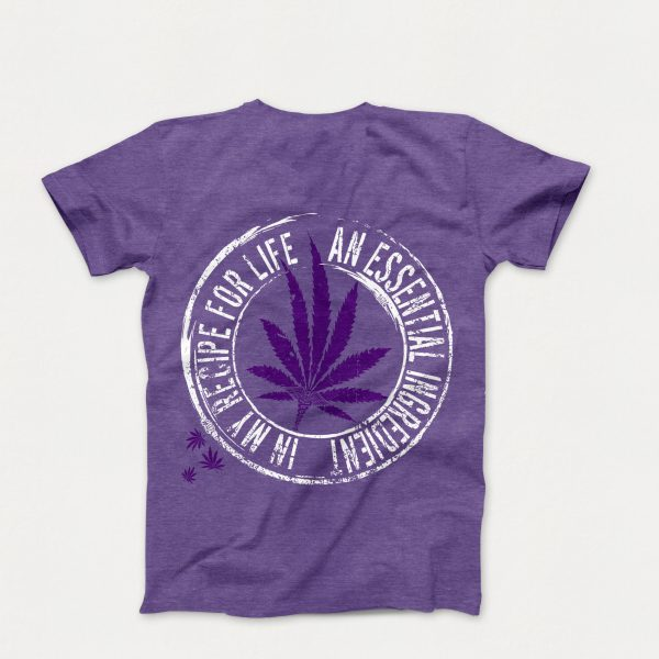 "Epilepsy and Medical Cannabis Awareness T-Shirt in Purple with the Dark Purple Leaf Design and ""An Essential Ingredient in My Recipe for Life"" Text (Back of Shirt)"