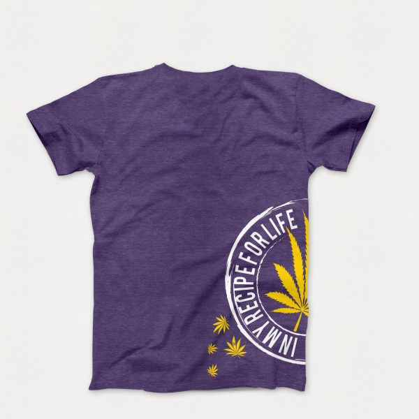 Original T-Shirt in Purple with a Yellow Cannabis Leaf on Side of T-Shirt (Back of Shirt)