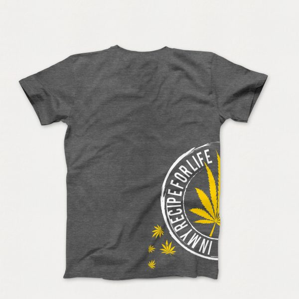 Original T-Shirt in Heather Grey with a Yellow Cannabis Leaf on Side of T-Shirt (Back of Shirt)