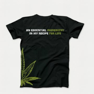 Black t-shirt with green cannabis leaf on the side of the t-shirt. Showing the back of the t-shirt with the text