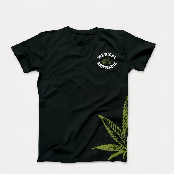 "Original ""My Recipe for Life"" T-Shirt in Black with Green Cannabis Leaf on Side of T-Shirt (Front of Shirt)"