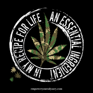 "Camouflage cannabis / marijuana leaf with words ""An Essential Ingredient in My Recipe for Life"" for PTSD Awareness"
