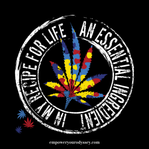 "Puzzle design cannabis / marijuana leaf with words ""An Essential Ingredient in My Recipe for Life"" for Autism Awareness"
